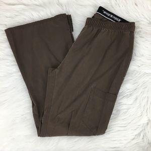 Dickies Small Petite Brown Scrub Pants Foldover